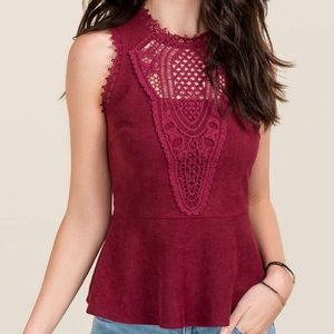Francesca's Burgundy Peplum Top